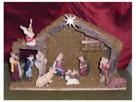 Boxed 11 Piece Wood/Ceramic Nativity Set