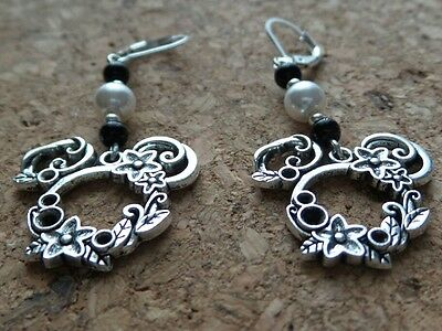 Alloy Mickey Mouse Silver Long Drop Dangle Earrings with Black White Glass Beads Black Bead Drop Earrings