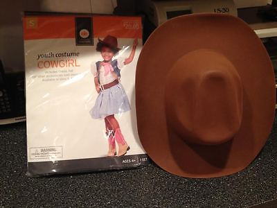Girls Cowgirl Cow Girl Rodeo Halloween Costume Complete Dress & Hat Sm Brand New - Cow Costume For Girls
