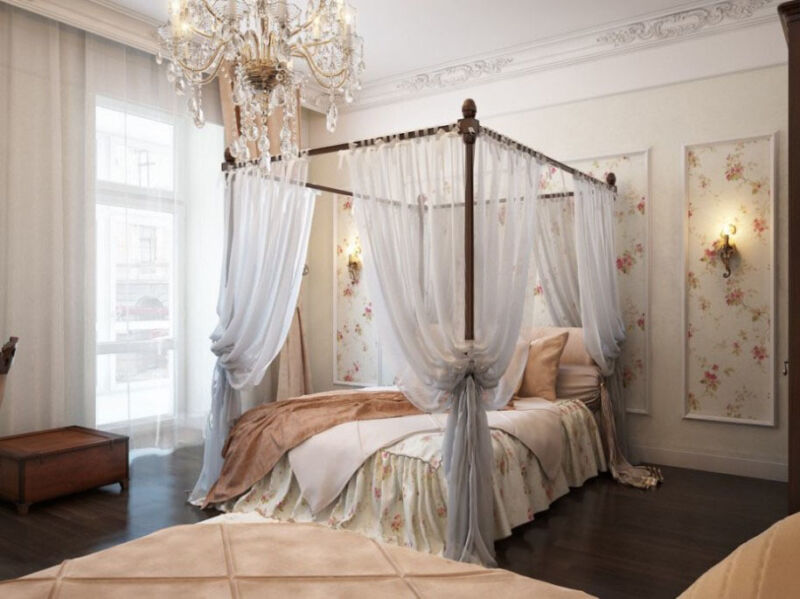 An ex&le of a canopy four poster bed & How to Install a Bed Canopy | eBay