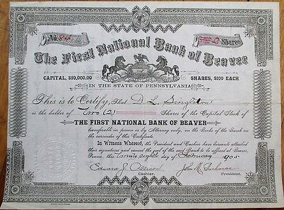 First National Bank of Beaver, PA 1905 Stock Certificate - Pennsylvania Penn