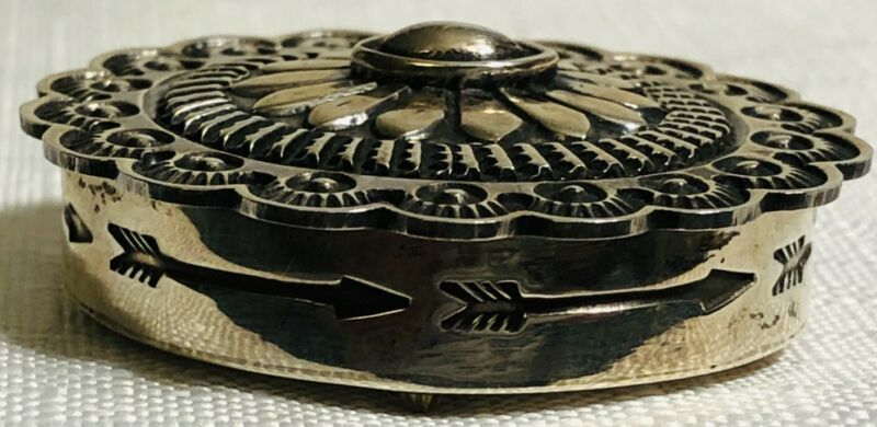 """Sunshine Reeves Navajo Sterling Silver Pill Box 23.9 grams 1 12/16"""" Signed"""