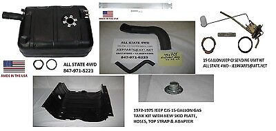 1970-1975 JEEP CJ NEW PLASTIC GAS TANK KIT WITH SKID PLATE, STRAP HOSE 15 GALLON