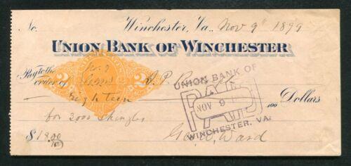 1899 $18 EIGHTEEN DOLLARS UNION BANK OF WINCHESTER VIRGINIA BANK CHECK