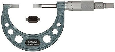 Mitutoyo 25-50mm 0.01mm 0.4mm Tip Outside Blade Micrometer Setting Standard