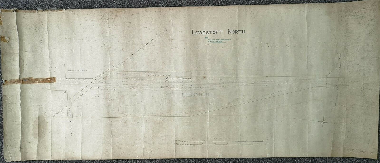 GER GREAT EASTERN RAILWAY LARGE PLAN LOWESTOFT NORTH DIAGRAM MAP 1905