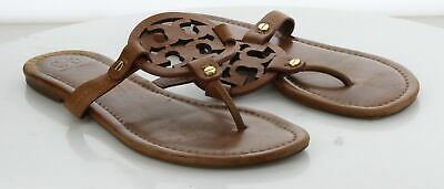 41-66 MSRP $198 Women's Size 9 M Tory Burch Miller Brown Leather Logo Sandal
