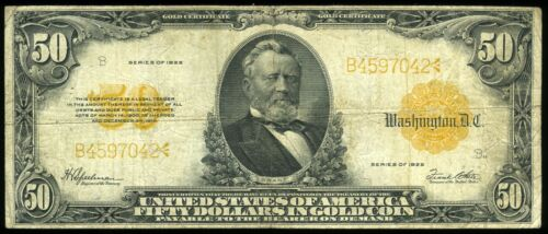 $50.00 1922 Large Size Gold Certificate FR1200  ***LOOK***