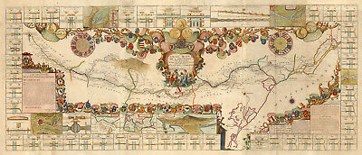 1697 Pictorial Map Royal Canal of Languedoc Map Mediterranean Sea Poster Print