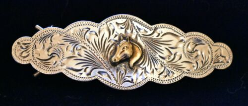 Vintage Fleming Sterling Silver Barrette with Gold Tone Horse Head