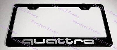 - Audi Quattro Sport Black Stainless Steel License Plate Frame W/ Bolt Caps