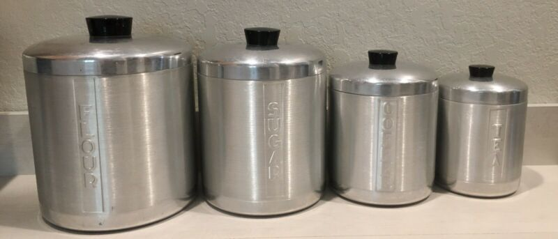 Vintage Century Brushed Aluminum Canister Set FLOUR/SUGAR/COFFEE/TEA