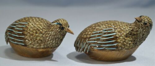 Pair of Chinese Export Sterling Gilt Silver Enamel Quail Birds Boxes