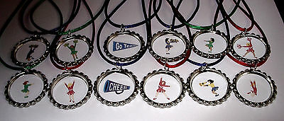 20 CHEERLEADER CHEER LEADING  BOTTLE CAP PARTY FAVORS COLOR NECKLACE GIRLS PINK](Cheer Party Favors)