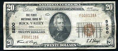 1929  20 The 1St National Bank Of Rock Valley  Ia National Currency Ch   5200