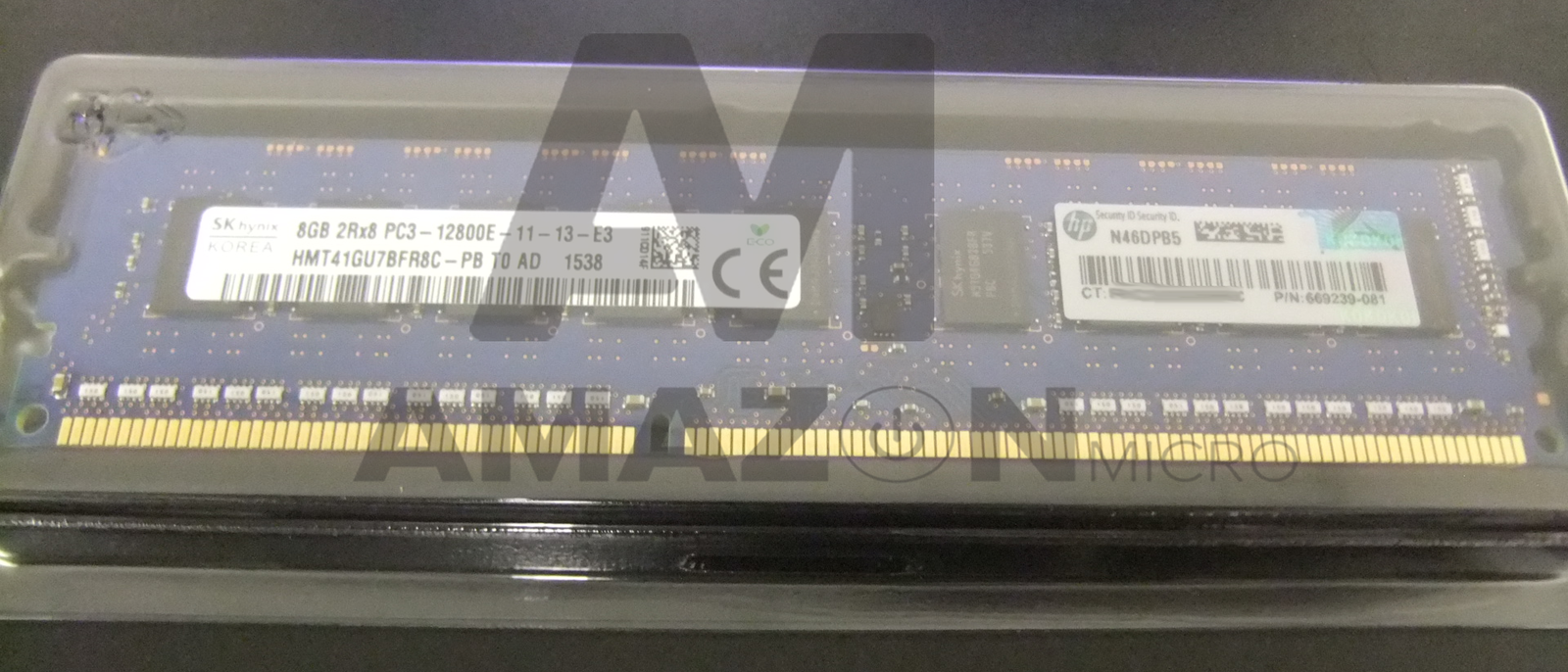 Dual Rank UDIMM 684035-001 669239-081 669324-B21 MEMORY 1x8GB HP