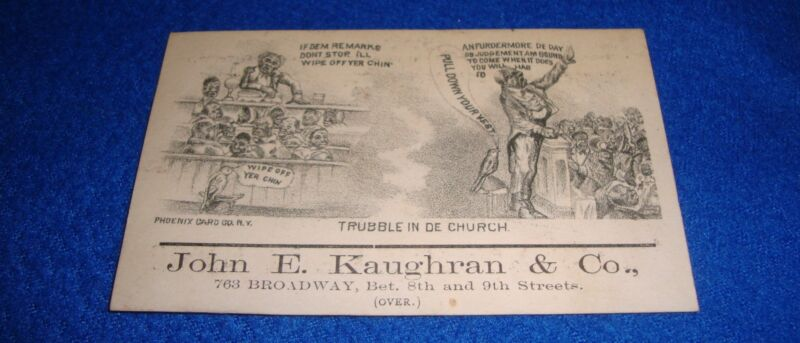 Vintage Trade Card John E. Kaughran & Co 2 Sided