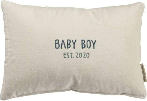 Primitives by Kathy Baby Boy Pillow Est. 2020 Velvet Keepsake 15x10 In Nursery