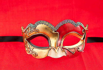 Mask from Venice Colombine Civet Nuvella Red and Golden for Fancy Dress 686