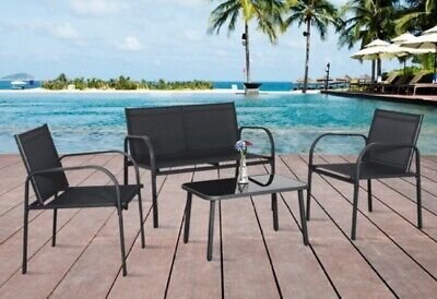 Garden Furniture Set 4 Seater Sofa Chairs  Metal Rectangular Table Patio Outdoor