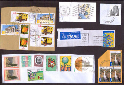 World stamps x 46 used on pieces includes Malta, Germany, Australia and more