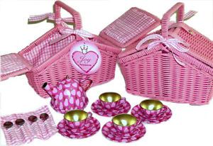 NEW Cocomotion MIA 18pc Children's Tin Tea Set in Pink Wicker Basket