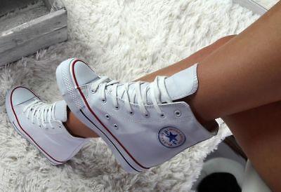Keilabsatz Sneaker Sportschuhe Hidden Wedges Stiefeletten WEISS!&&+@@+++++++ Weiße Wedge Sneakers