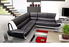 **FREE DELIVERY** BRAND NEW PALERMO CORNER SOFA SUITE IN BLACK, RED , WHITE LEATHER 3 AND 2 SEATER