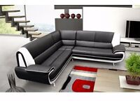 *7-DAYS MONEY BACK GUARANTEE* PALERMO CORNER SOFA SUITE IN BLACK, RED , WHITE LEATHER 3 AND 2 SEATER