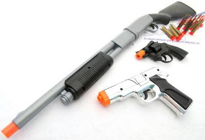 3x Toy Guns SWAT Pump-Action Shotgun Dart Silver 9MM Pistol & Revolver Cap Guns (Toy Guns)
