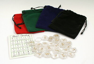 Quartz Crystal Rune Stone Set With Free Bag