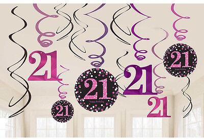 12 X 21st Geburtstag Hängende Wirbel Schwarz & Rosatöne Party Dekoration Alter