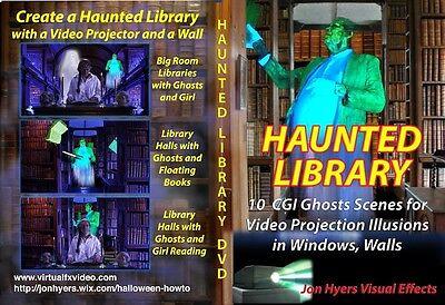 Haunted Library Halloween Video Projection DVD FREE DIGITAL - BUY NOW Jon - Digital Halloween Projection
