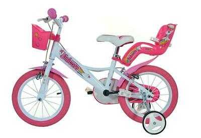 "Dino Unicorn 14"" Kids Single Speed Bike Girls Bicycle Pink w Stabilisers"