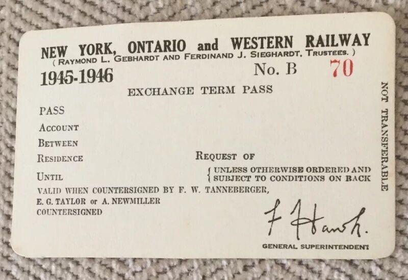 New York, Ontario & Western Railway 1945-1946 Unissued Pass