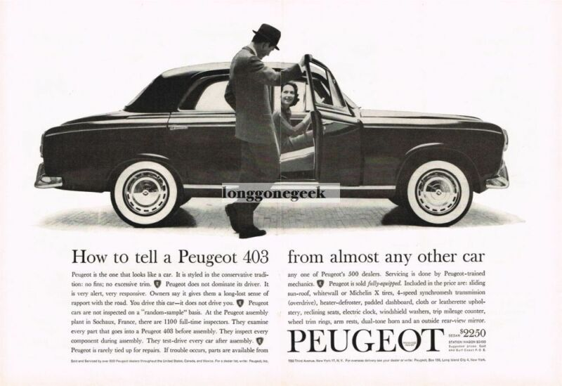 1960 PEUGEOT 403 How To Tell it From Other Cars Centerfold Vintage Print Ad