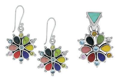 925 ECHT SILBER 🌼 Set Blume Ohrringe + Anhänger, multicolor bunt