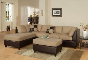 FREE shipping in Montreal! Sacramento Microfiber Sectional with Reversible Chaise!