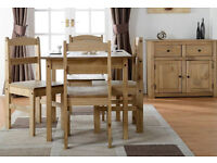 Mexican Solid Pine Dining Table with 4 Chairs