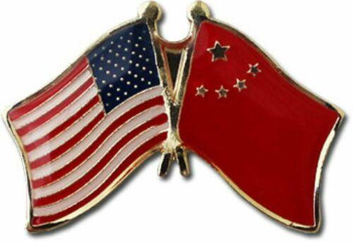 USA American China Friendship Flag Bike Motorcycle Hat Cap lapel Pin
