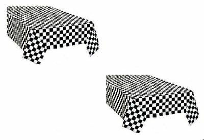 2pk Checkered Plastic Table Cover Disposable Reusable Picnic Race Car Theme