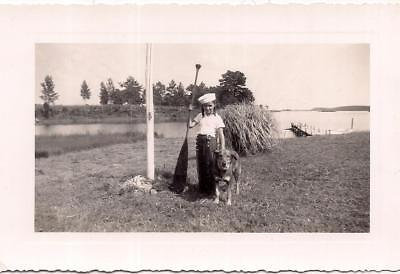 Cute Sailor Hat Girl Holding Boat Oar & Her First Mate Dog Vintage 1950s Photo ()