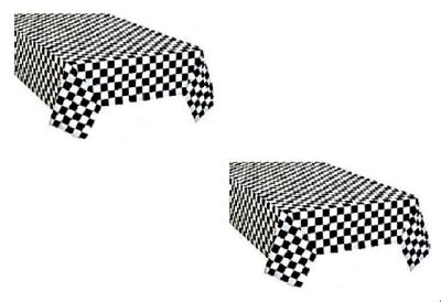 Black And White Party Decorations (2pk Plastic Black & White Checkered CARS Theme Racing Nascar Table)