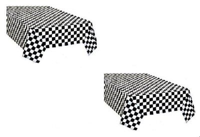 2pk Black and White Checkered Plastic Racing Table Cover Nascar CARS Theme