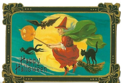 """PUNCH STUDIO Blank Halloween Card approx 3.5 x 4.5"""" Witch"""