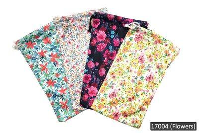 4 Microfiber Soft Bag Case Pouch Holder For Sunglasses Eyeglasses Floral Prints.