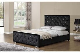 Can Deliver Today Or Day Of Choice 4 Colours Crushed Velvet Designer Bed Frame Double bed King Bed