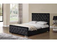 🟦✔️Chesterfield crush velvet bed frame double/king size-Optional mattress