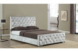 💥💗❤💗Premium Quality🔥💥🔥Brand New Double / King Crush Velvet Diamond Chesterfield Bed & Mattress