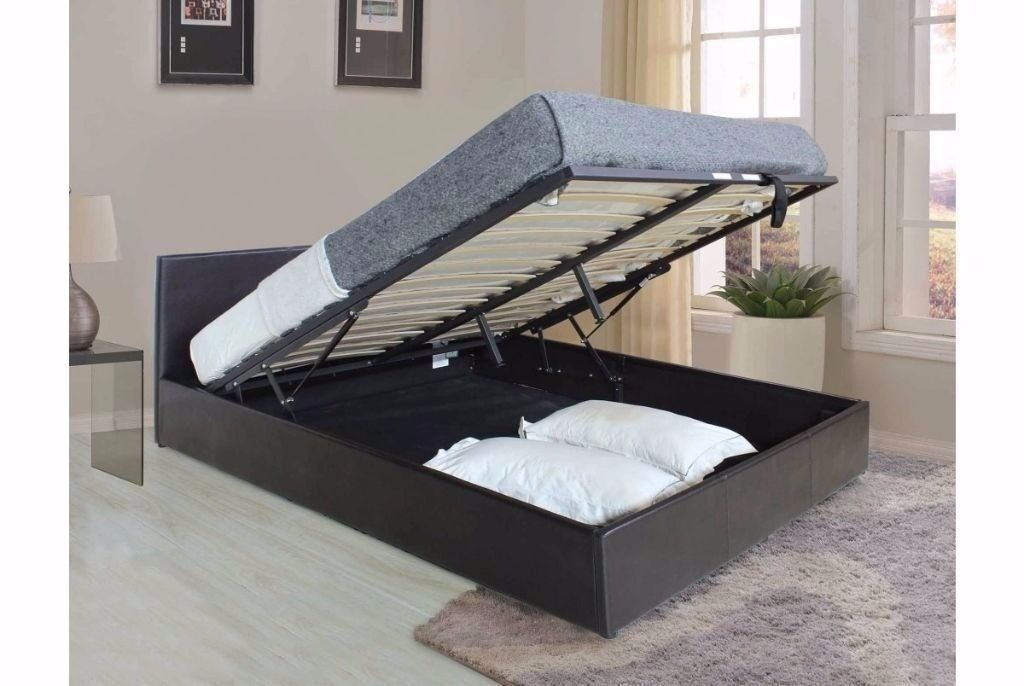 BLACK BROWN AND WHITE* BRAND NEW DOUBLE OR KING GAS LIFT LEATHER STORAGE BED FRAME AND MATTRESS